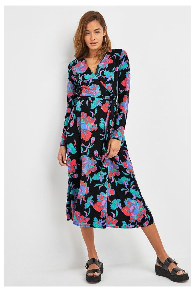 Womens Next Black Print Wrap Midi Dress -  Black