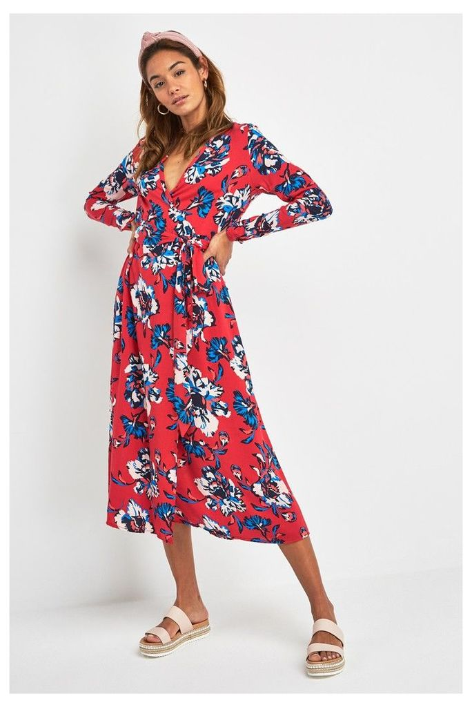 Womens Next Red Floral Print Wrap Midi Dress -  Red