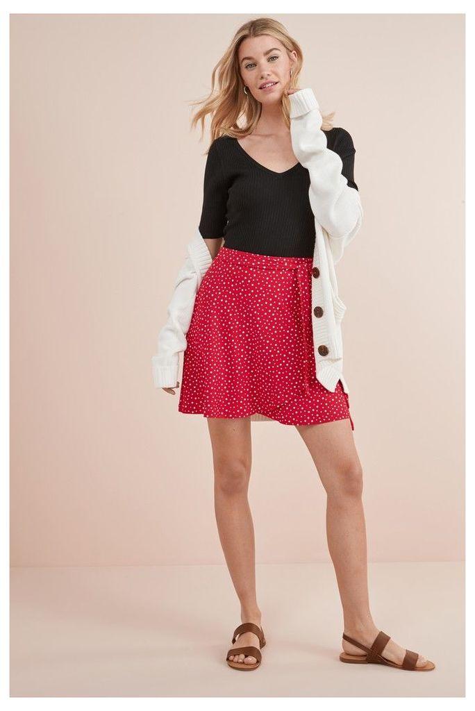Womens Next Red Spot Wrap Short Skirt -  Red