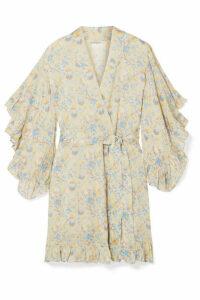 Mes Demoiselles - Sally Ruffled Floral-print Crepe De Chine Kimono - Cream