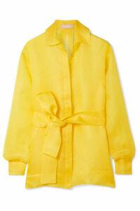 MATÉRIEL - Belted Textured Silk-gauze Shirt - Yellow