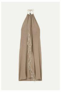 SU Paris - Tina Fringed Cotton-gauze Halterneck Dress - Beige