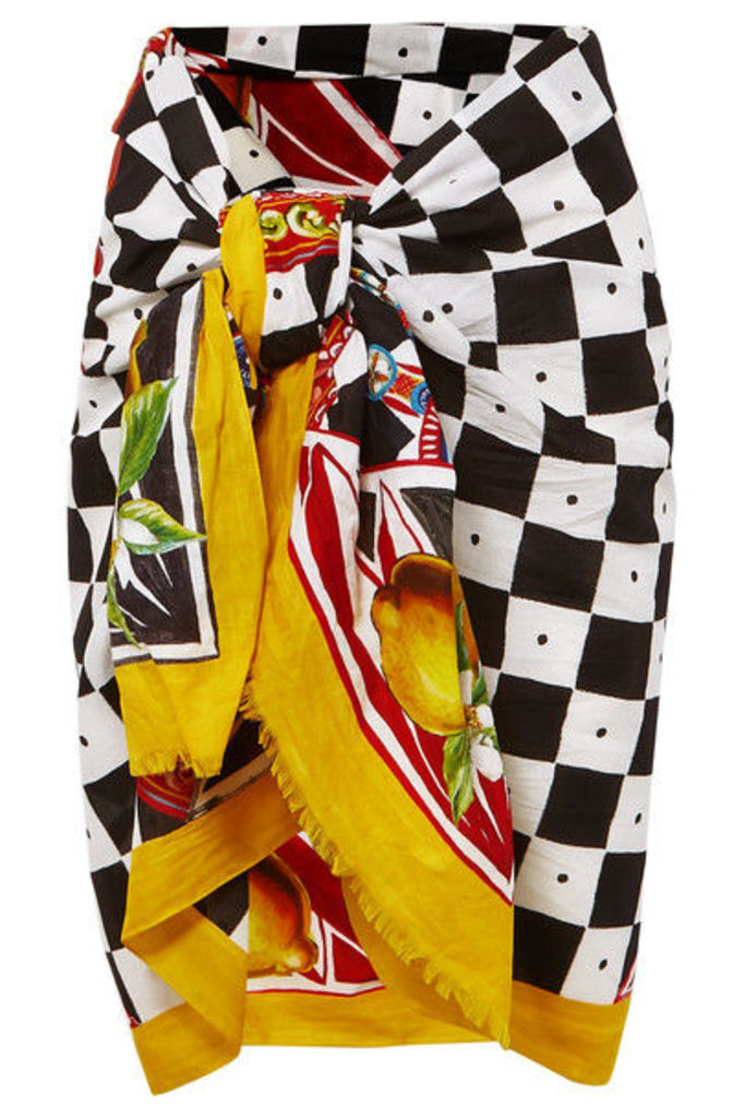 Dolce & Gabbana - Printed Cotton-voile Pareo - Yellow
