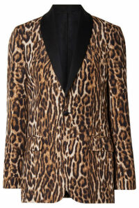R13 - Oversized Satin-trimmed Leopard-print Cotton-blend Crepe Blazer - Brown