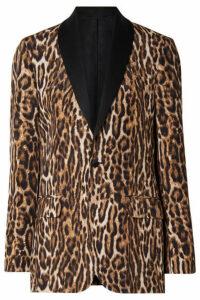 R13 - Oversized Satin-trimmed Leopard-print Cotton-blend Crepe Blazer - Brown