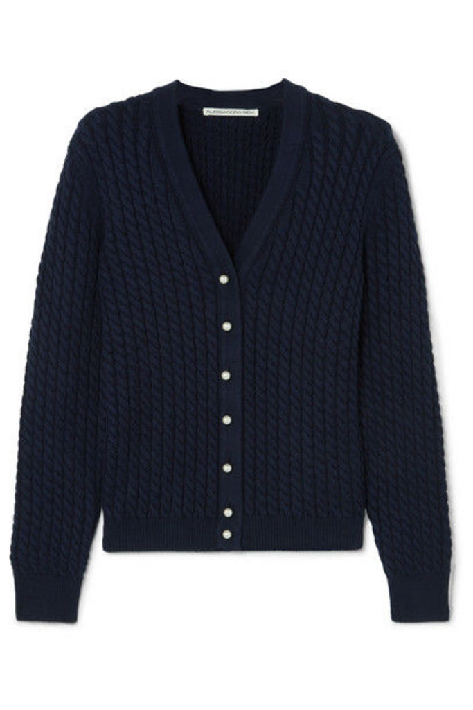 Alessandra Rich - Cable-knit Cotton-blend Cardigan - Navy