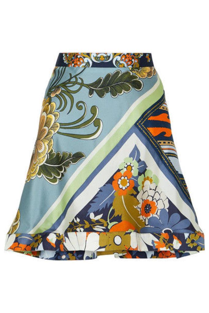 Chloé - Asymmetric Ruffled Printed Silk-twill Skirt - Blue