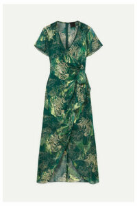 Anna Sui - Butterfly Feather Printed Metallic Fil Coupé Silk-blend Chiffon Midi Dress - Dark green