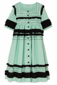 Molly Goddard - Macy Broderie Anglaise-trimmed Gingham Cotton Coat - Green