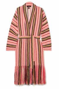 Alanui - Baja Fringed Striped Cotton-blend Cardigan - Pink