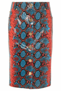 Versace - Snake-effect Leather Midi Skirt - Blue