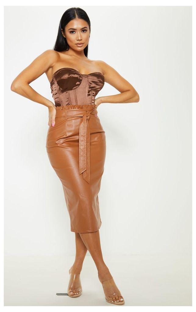 Petite Brown PU Tie Belt Midi Skirt, Brown