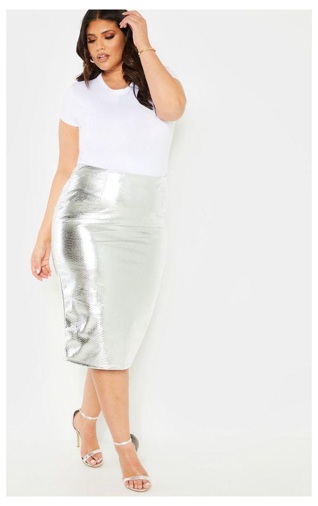 Plus Silver PU Snake Print Midi Skirt, Grey