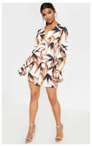 Black Tropical Stitch Detail Frill Sleeve Blazer Dress, Black