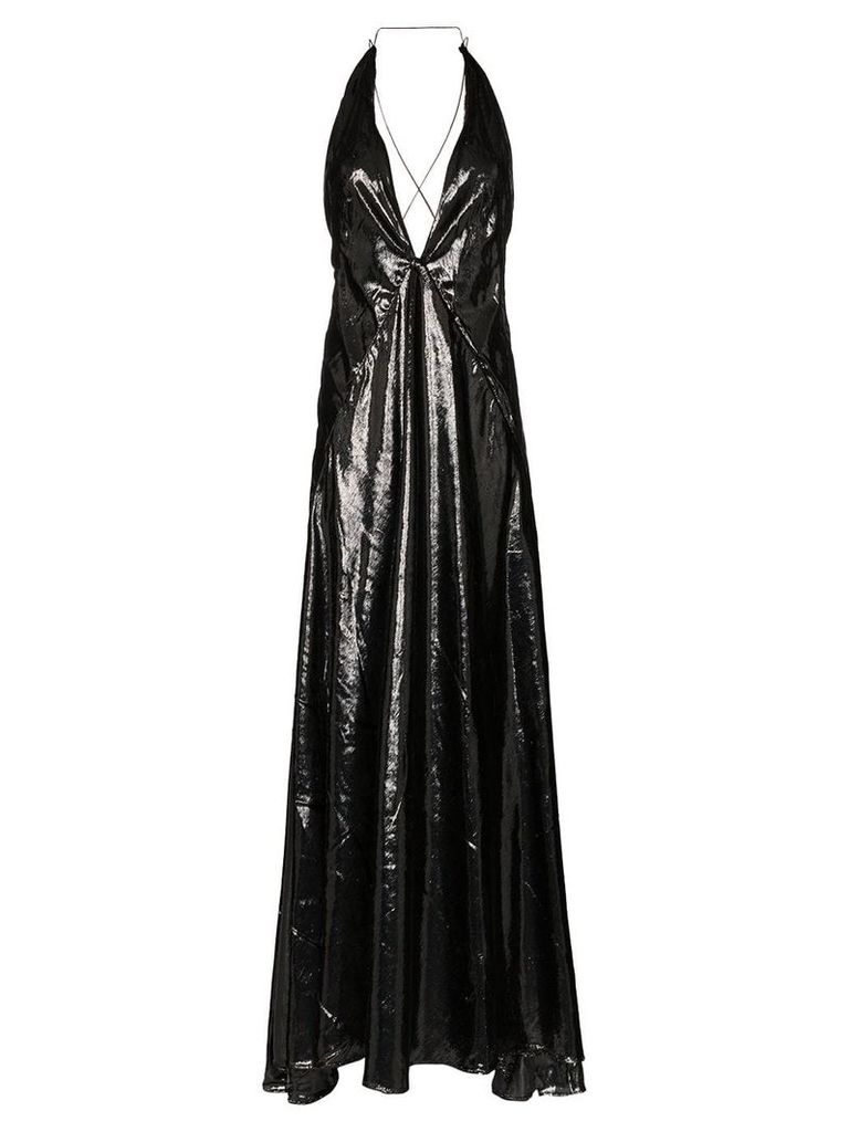 Michael Lo Sordo Alexandra sleeveless high-shine V-neck maxi dress -