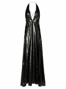 Michael Lo Sordo Alexandra sleeveless high-shine V-neck maxi dress -