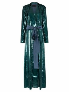 Michael Lo Sordo High-shine belted blazer maxi dress - Blue