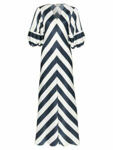 Lee Mathews Ingrid chevron stripe pouf sleeve silk maxi dress - Blue