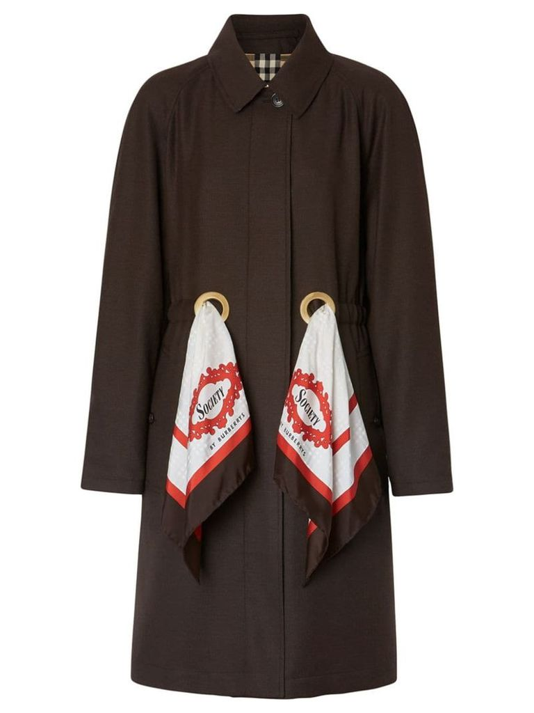 Burberry scarf detail car coat - Brown