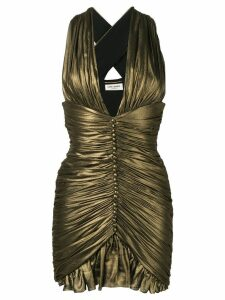 Saint Laurent Gathered dress in crepe chiffon - Gold