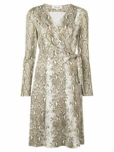 Diane von Furstenberg Python print wrap-front dress - Neutrals