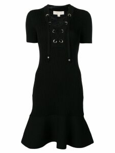 Michael Michael Kors lace-up ribbed knit dress - Black