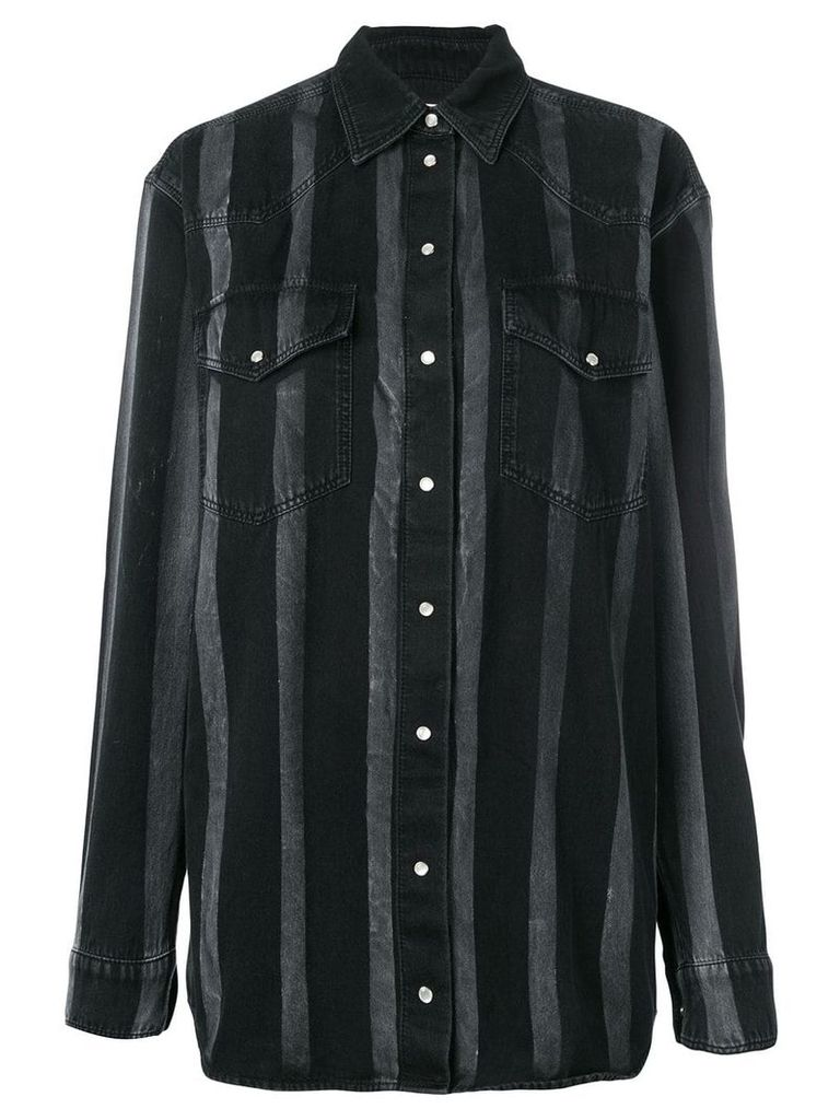 Faith Connexion striped shirt jacket - Black