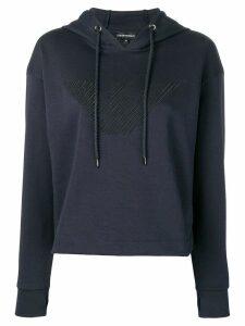 Emporio Armani logo embroidered hoodie - Blue