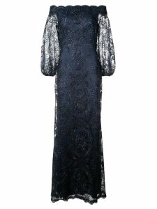 Tadashi Shoji floral embroidered bardot evening dress - Blue