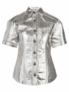 Proenza Schouler Metallic Short Sleeve Top - Silver