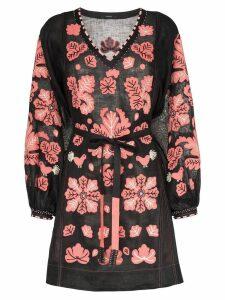 Vita Kin Forest clover linen mini dress - Black