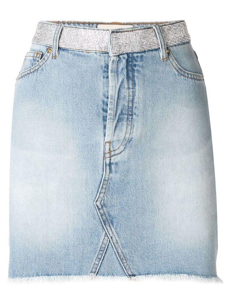 Alexandre Vauthier crystal studded denim skirt - Blue