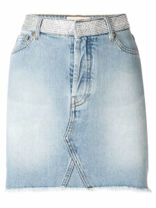 Alexandre Vauthier crystal studded denim skirt - Blue