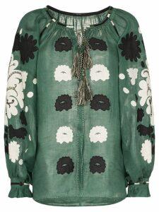 Vita Kin Floral appliqué linen top - Green
