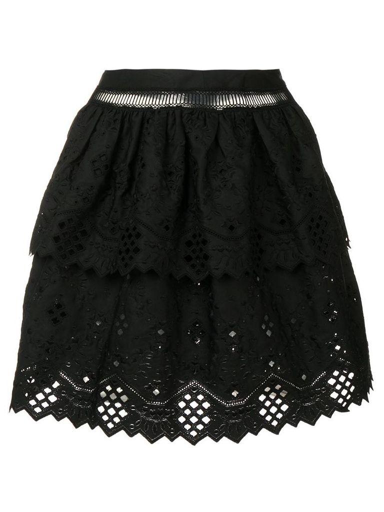 Alberta Ferretti lace ruffle skirt - Black