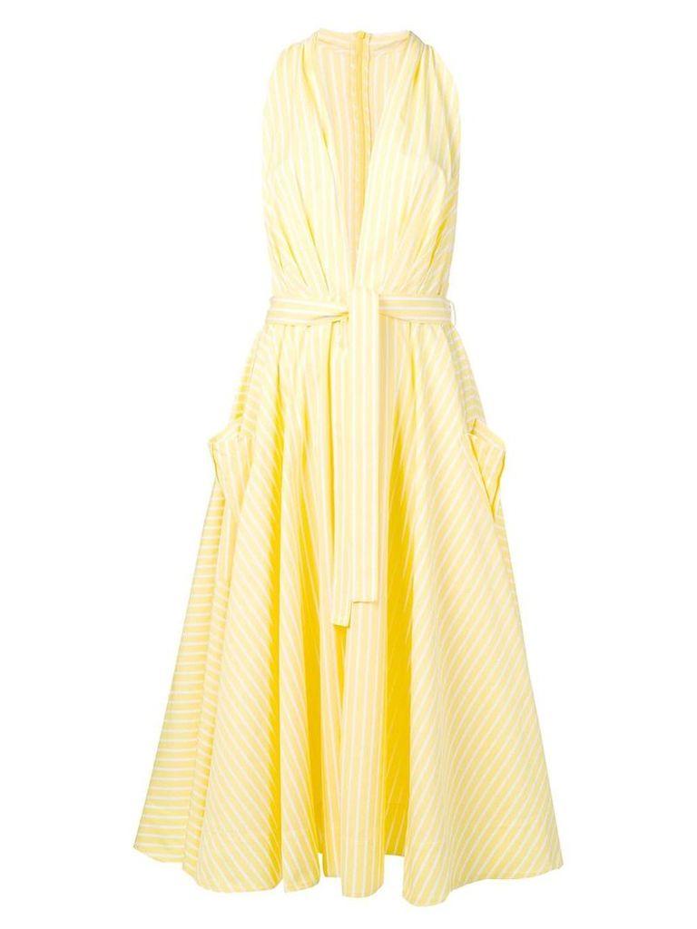 Sara Battaglia plunge-neck striped dress - Yellow