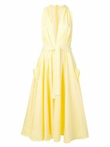 Sara Battaglia plunge-neck striped dress - Yellow
