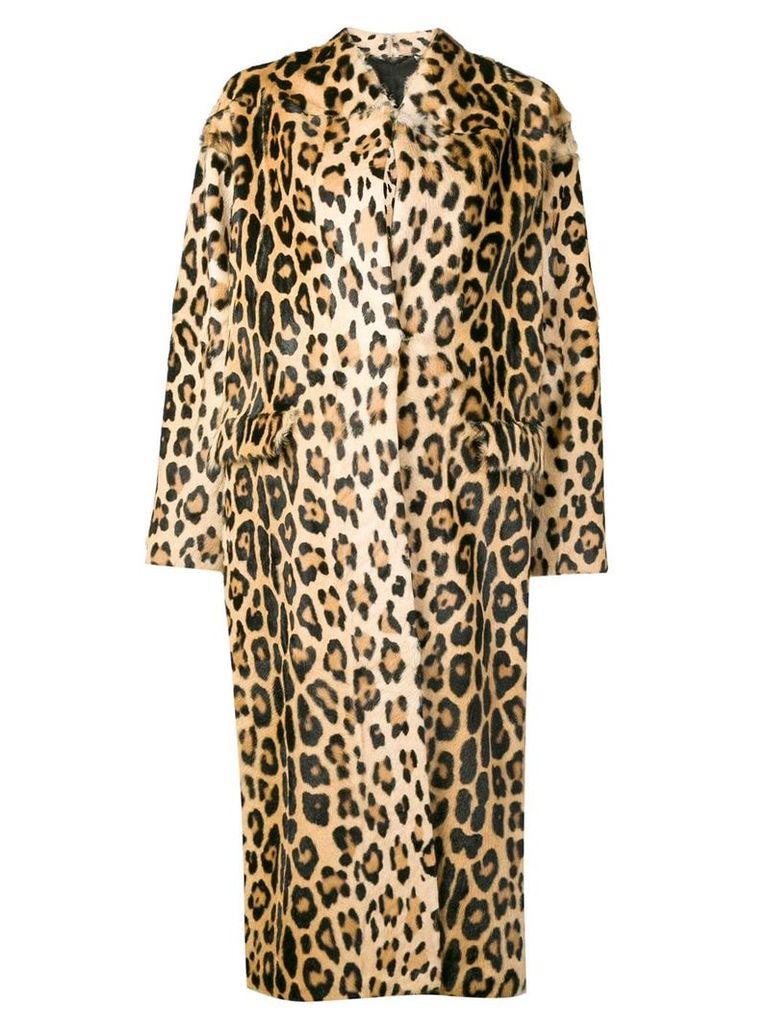 Liska Notso long fur coat - Brown