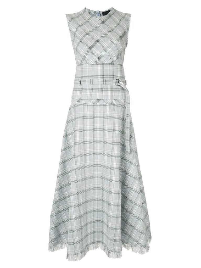 Eudon Choi long check dress - Blue