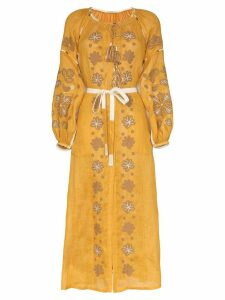 Vita Kin Forest clover linen maxi dress - Yellow
