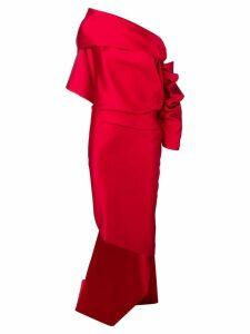 Balenciaga asymmetric draped evening dress - Red