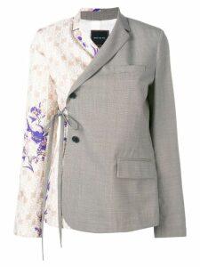 Snow Xue Gao half-printed wrap blazer - Grey