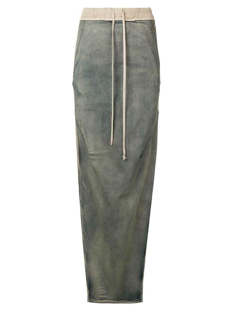 Rick Owens side slit denim effect skirt - Grey