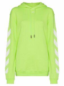 Off-White Diagonal stripe-print cotton hoodie - Yellow