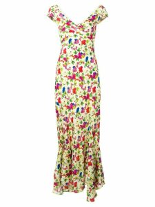 Saloni Lemon Poppies long dress - Neutrals