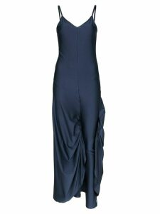 Y/Project Legging-detail satin slip dress - Blue