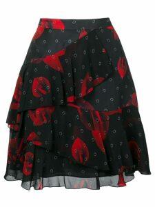 Karl Lagerfeld floral ruffle skirt - Black