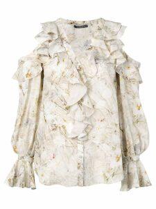 Alexander McQueen floral ruffle shirt - Neutrals