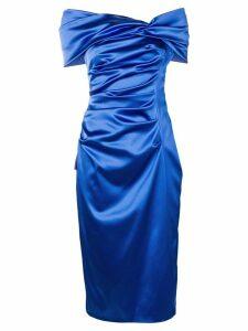 Talbot Runhof ruched satin dress - Blue