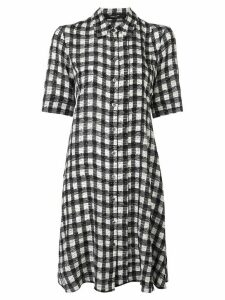 Derek Lam Short Sleeve Plaid Print A-Line Shirt Dress - Black